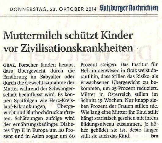 Beitrag in den Salzburger NAchrichten zum Thema Muttermilch